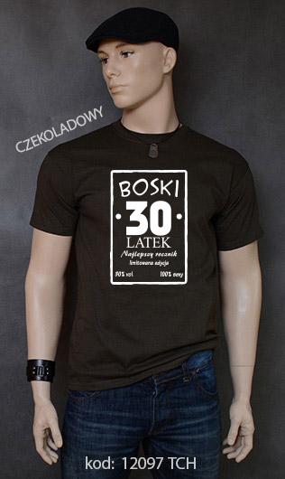 koszulka męska BOSKI 30 LATEK kolor czekoladowy