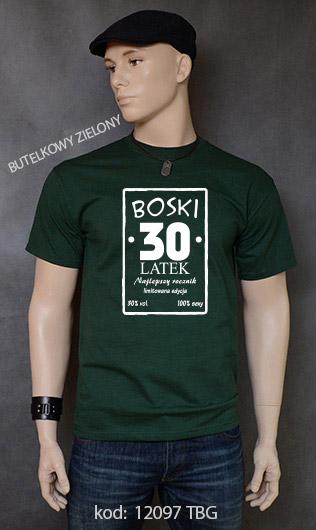 koszulka męska BOSKI 30 LATEK kolor butelkowy zielony