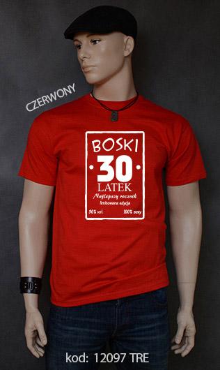 koszulka męska BOSKI 30 LATEK kolor czerwony