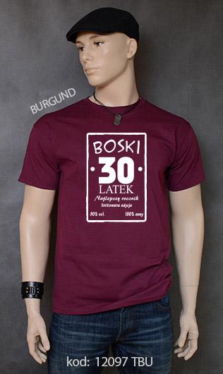 koszulka męska BOSKI 30 LATEK kolor burgund
