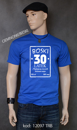 koszulka męska BOSKI 30 LATEK kolor ciemnoniebieski