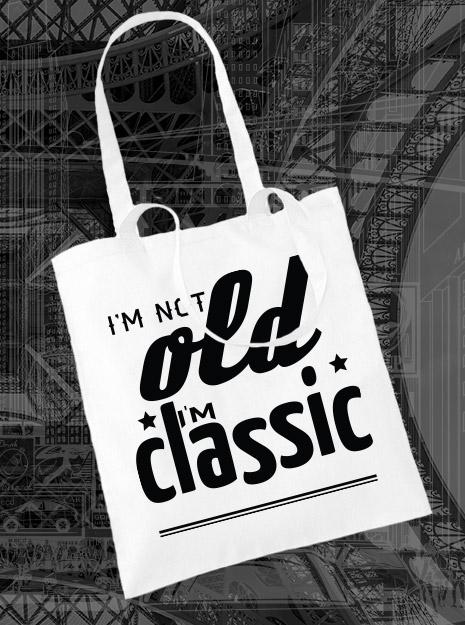 torba na zakupy I'M NOT OLD I'M CLASSIC kolor biały