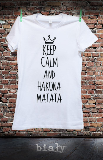 koszulka damska KEEP CALM AND HAKUNA MATATA kolor biały