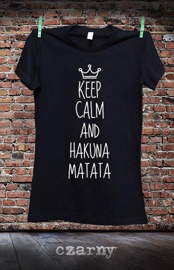 koszulka damska KEEP CALM AND HAKUNA MATATA kolor czarny