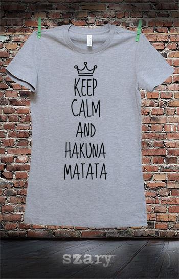 koszulka damska KEEP CALM AND HAKUNA MATATA kolor szary