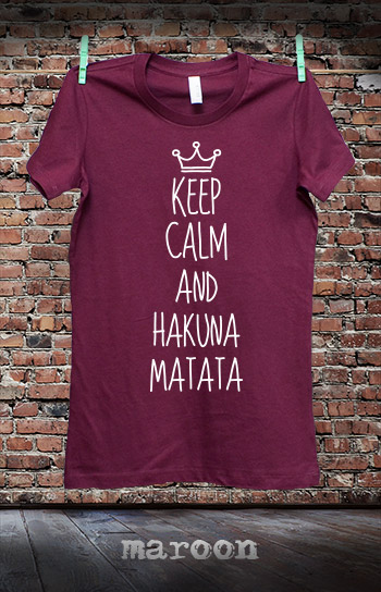 koszulka damska KEEP CALM AND HAKUNA MATATA kolor maroon