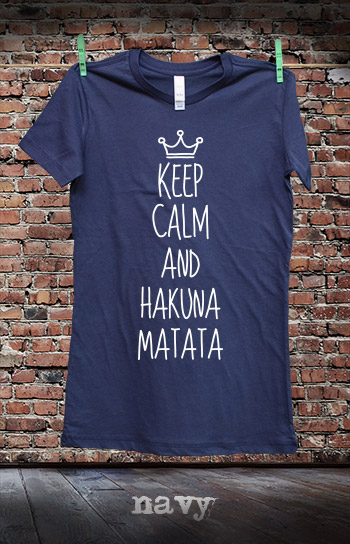 koszulka damska KEEP CALM AND HAKUNA MATATA kolor navy