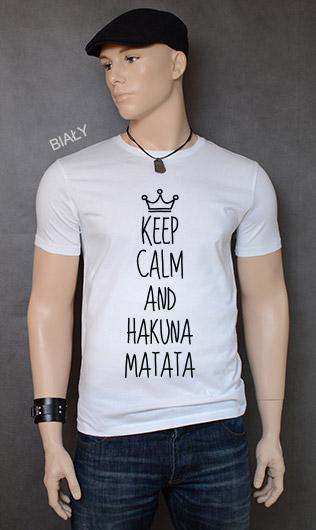 koszulka męska KEEP CALM AND HAKUNA MATATA kolor biały