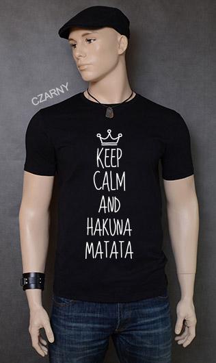koszulka męska KEEP CALM AND HAKUNA MATATA kolor czarny