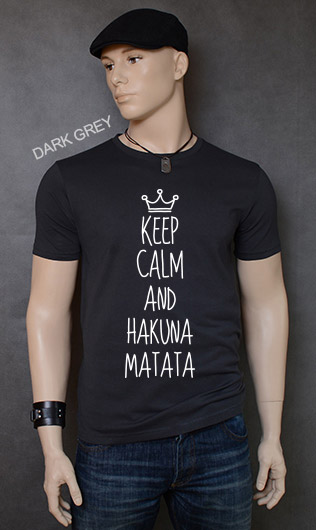 koszulka męska KEEP CALM AND HAKUNA MATATA kolor dark grey