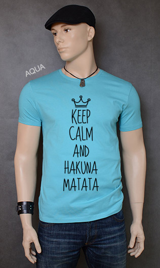 koszulka męska KEEP CALM AND HAKUNA MATATA kolor aqua