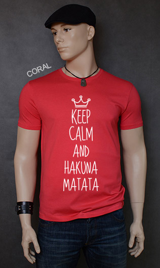 koszulka męska KEEP CALM AND HAKUNA MATATA kolor coral