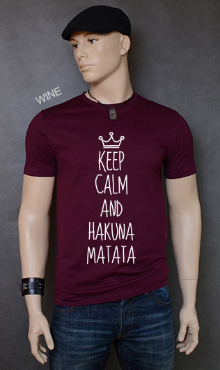 koszulka męska KEEP CALM AND HAKUNA MATATA kolor wine