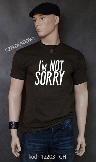 koszulka męska I'M NOT SORRY kolor czekoladowy