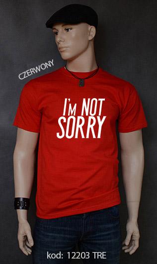 koszulka męska I'M NOT SORRY kolor czerwony
