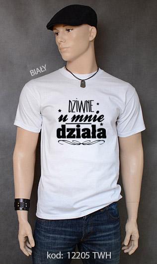 koszulka męska DZIWNE U MNIE DZIAŁA kolor biały