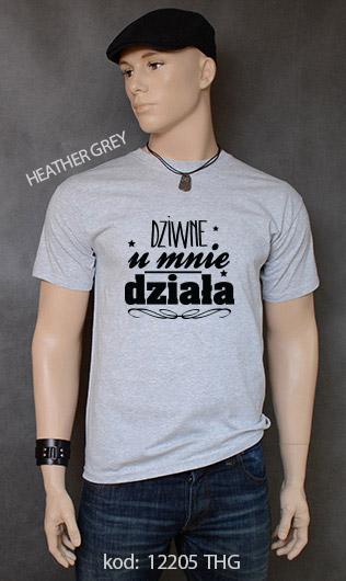 koszulka męska DZIWNE U MNIE DZIAŁA kolor heather grey