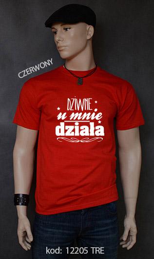 koszulka męska DZIWNE U MNIE DZIAŁA kolor czerwony