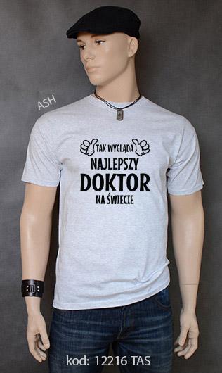 koszulka męska TAK WYGLĄDA NAJLEPSZY DOKTOR NA ŚWIECIE kolor ash