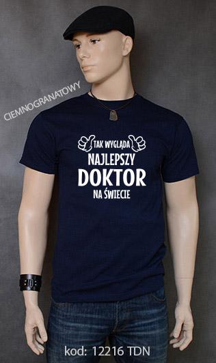 koszulka męska TAK WYGLĄDA NAJLEPSZY DOKTOR NA ŚWIECIE kolor ciemnogranatowy