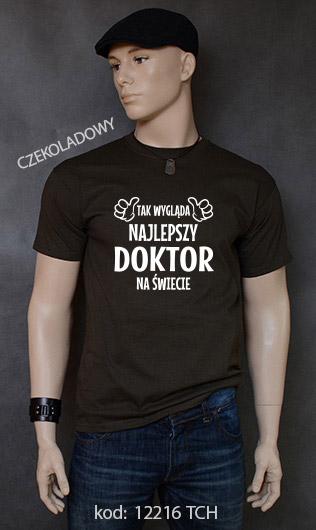 koszulka męska TAK WYGLĄDA NAJLEPSZY DOKTOR NA ŚWIECIE kolor czekoladowy