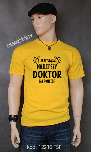 koszulka męska TAK WYGLĄDA NAJLEPSZY DOKTOR NA ŚWIECIE kolor ciemnożółty