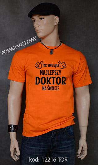 koszulka męska TAK WYGLĄDA NAJLEPSZY DOKTOR NA ŚWIECIE kolor pomarańczowy