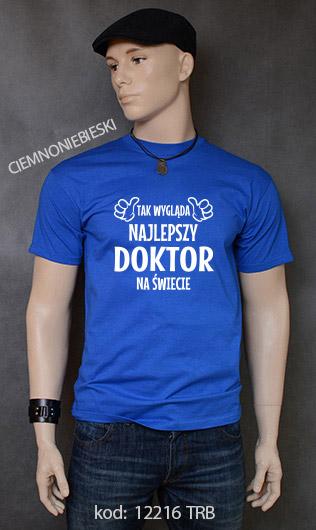 koszulka męska TAK WYGLĄDA NAJLEPSZY DOKTOR NA ŚWIECIE kolor ciemnoniebieski