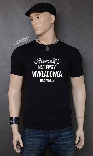 koszulka męska TAK WYGLĄDA NAJLEPSZY WYKŁADOWCA NA ŚWIECIE kolor czarny