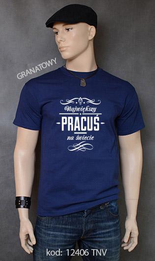 koszulka męska NAJWIĘKSZY PRACUŚ NA ŚWIECIE kolor granatowy