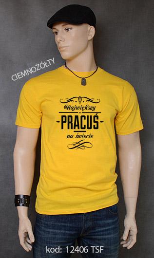 koszulka męska NAJWIĘKSZY PRACUŚ NA ŚWIECIE kolor ciemnożółty