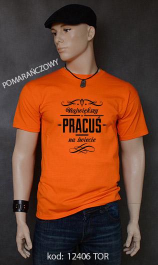 koszulka męska NAJWIĘKSZY PRACUŚ NA ŚWIECIE kolor pomarańczowy