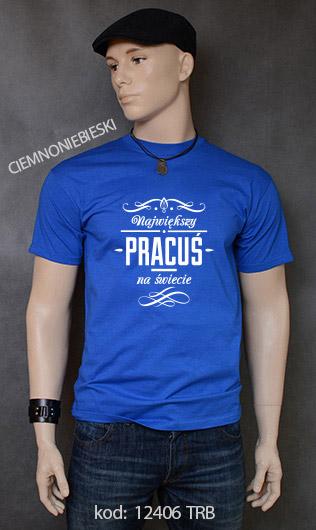 koszulka męska NAJWIĘKSZY PRACUŚ NA ŚWIECIE kolor ciemnoniebieski