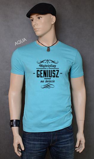koszulka męska NAJWIĘKSZY GENIUSZ NA ŚWIECIE kolor aqua