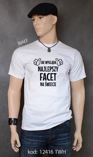 koszulka męska TAK WYGLĄDA NAJLEPSZY FACET NA ŚWIECIE kolor biały