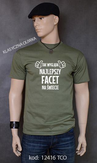 koszulka męska TAK WYGLĄDA NAJLEPSZY FACET NA ŚWIECIE kolor klasyczna oliwka