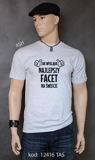 koszulka męska TAK WYGLĄDA NAJLEPSZY FACET NA ŚWIECIE kolor ash