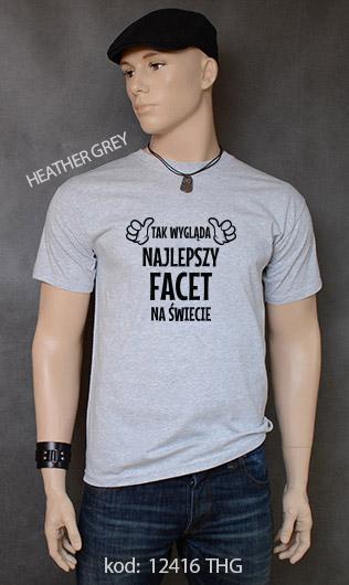 koszulka męska TAK WYGLĄDA NAJLEPSZY FACET NA ŚWIECIE kolor heather grey