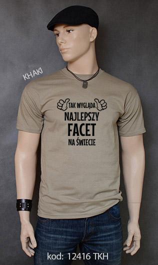 koszulka męska TAK WYGLĄDA NAJLEPSZY FACET NA ŚWIECIE kolor khaki