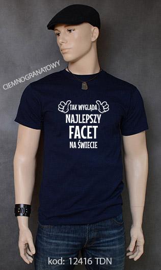 koszulka męska TAK WYGLĄDA NAJLEPSZY FACET NA ŚWIECIE kolor ciemnogranatowy