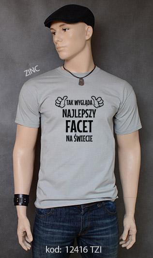 koszulka męska TAK WYGLĄDA NAJLEPSZY FACET NA ŚWIECIE kolor zinc