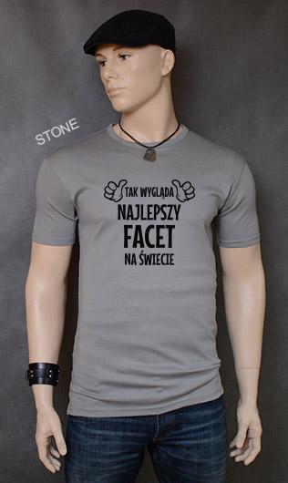 koszulka męska TAK WYGLĄDA NAJLEPSZY FACET NA ŚWIECIE kolor stone