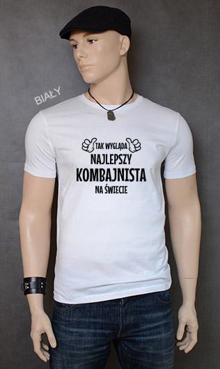 koszulka męska TAK WYGLĄDA NAJLEPSZY KOMBAJNISTA NA ŚWIECIE kolor biały