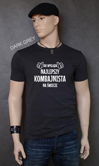 koszulka męska TAK WYGLĄDA NAJLEPSZY KOMBAJNISTA NA ŚWIECIE kolor dark grey
