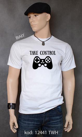 koszulka męska TAKE CONTROL kolor biały