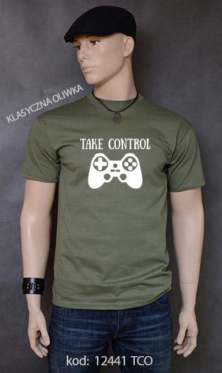 koszulka męska TAKE CONTROL kolor klasyczna oliwka
