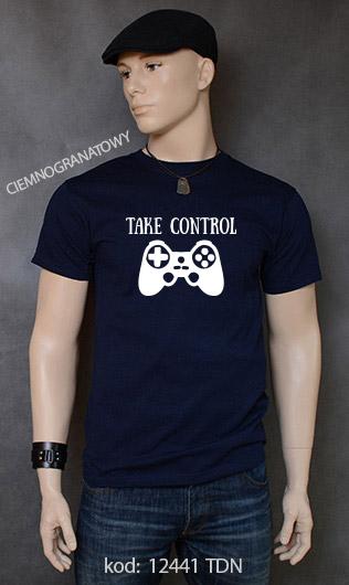 koszulka męska TAKE CONTROL kolor ciemnogranatowy