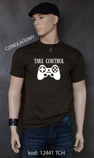 koszulka męska TAKE CONTROL kolor czekoladowy