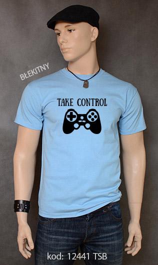 koszulka męska TAKE CONTROL kolor błękitny