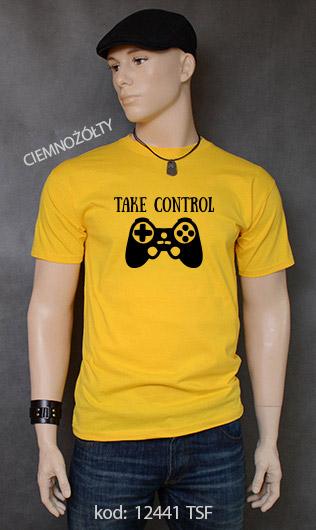 koszulka męska TAKE CONTROL kolor ciemnożółty